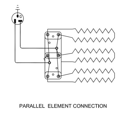 parallel element connection for a kiln with three elements