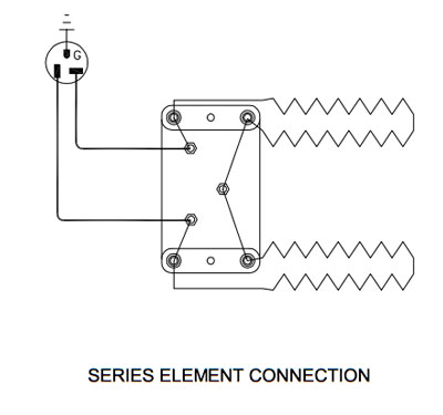 Series element connection for a kiln with two elements