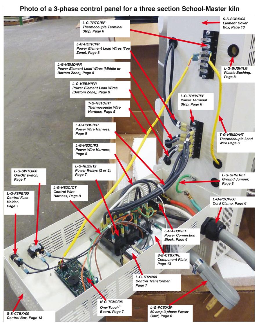 Bottom Power Element Harness For Easy Fire School Master Kilns Kiln Wiring Diagram
